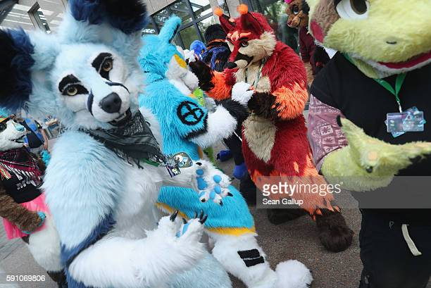 Participants or furries as they prefer to be called dance to flashmob tunes upon their arrival the Estrel Hotel for the 2016 Eurofurence furries...