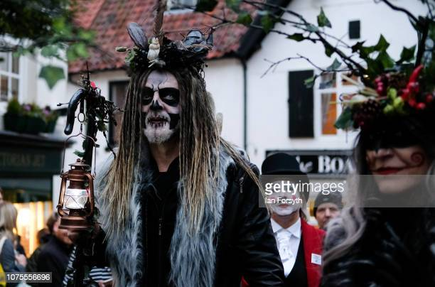 Participants parade through the streets during the annual Whitby Krampus parade on December 01 2018 in Whitby England The Krampus is a horned...