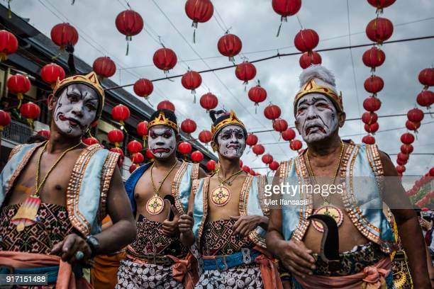 Participants perform during Grebeg Sudiro festival on February 11 2018 in Solo City Central Java Indonesia Grebeg Sudiro festival is held as a...