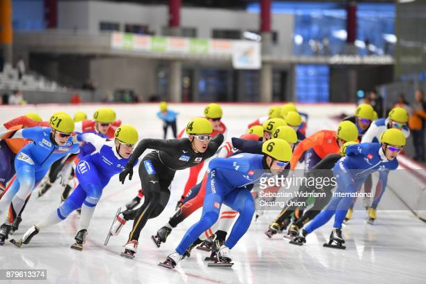 Participants perform during the Men mass start at the ISU Junior World Cup Speed Skating at Max Aicher Arena on November 26 2017 in Inzell Germany