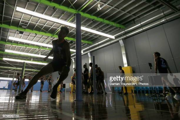 Participants perform in the agility test during the TAC Cup Fitness Testing Day at Maribyrnong College on March 10 2018 in Melbourne Australia