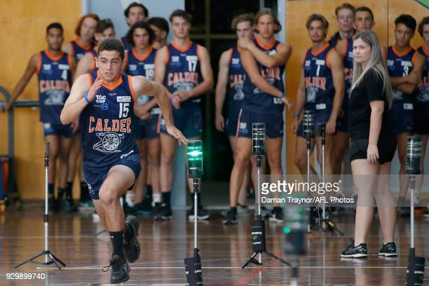 Participants perform in the sprint test during the TAC Cup Fitness Testing Day at Maribyrnong College on March 10 2018 in Melbourne Australia