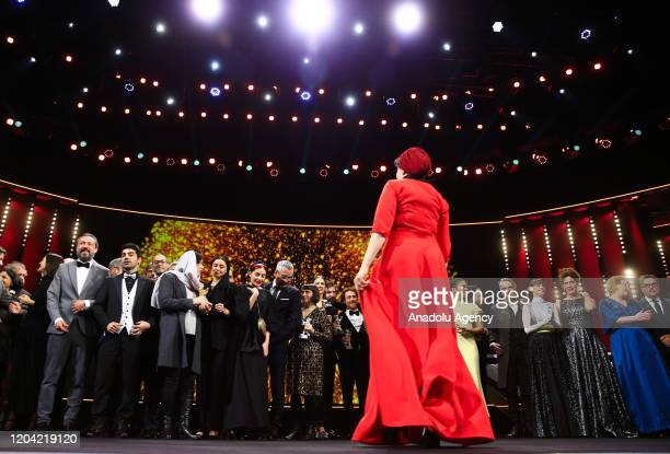 Participants pose after the award ceremony of 70th Berlinale International Film Festival in Berlin Germany on February 29 2020