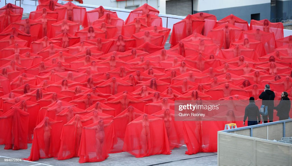 Spencer Tunick Creates Nude Art Installation In Melbourne : News Photo