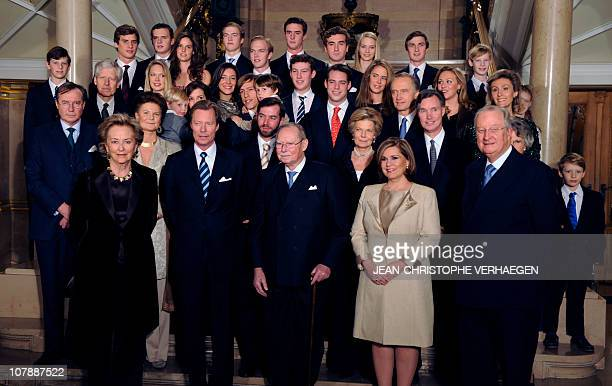 Participants pose for the family photo for the 90th anniversary of GrandDuc Jean on January 5 2011 at the Grand Ducale Palace in LuxembourgFrom L to...