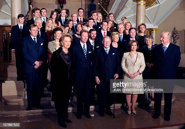 Participants pose form the family photo for the 90th anniversary of GrandDuc Jean on January 5 2011 at the Grand Ducale Palace in LuxembourgFrom L to...