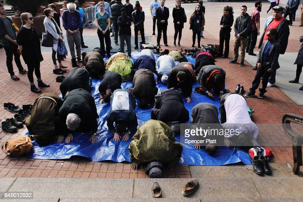 Participants pray in an interfaith Jummah prayer service and protest calling for the investigation of the NYPD killing of Mohamed Bah on February 24...