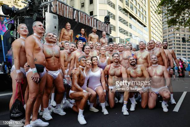 Participants prepare before in Hyde Park ahead of the 2020 Sydney Gay Lesbian Mardi Gras Parade on February 29 2020 in Sydney Australia The Sydney...