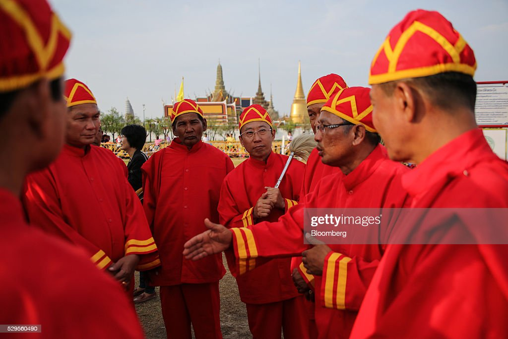Participants prepare for the Royal Ploughing Ceremony at Sanam Luang park in Bangkok, Thailand, on Monday, May 9, 2016. This year may be a better one for Thai rice production. At least, that's what two sacred oxen and a ceremonial lord forecast at an annual ploughing ceremony. Photographer: Dario Pignatelli/Bloomberg via Getty Images
