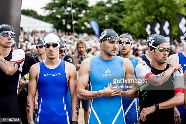 Participants prepare for the swim leg during the IRONMAN European Championships on July 03 2016 in Frankfurt Germany