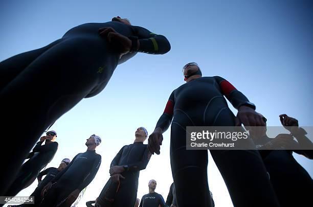 Participants prepare to being the race during Ironman Copenhagen on August 24 2014 in Copenhagen Denmark