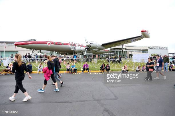 Participants relax after completing the St Jude Rock n Roll Seattle 5K at the Museum of Flight on June 9 2018 in Seattle Washington