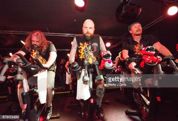 Participants ride as the Download Festival hosts a heavy metal spin class supporting Heavy Metal Truants in training for their London to Donington...