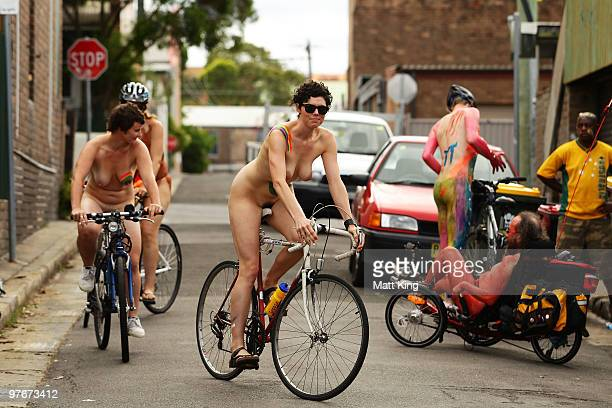 Participants ride during the annual World Naked Bike Ride Australia 2010 in central Sydney on March 13 2010 in Sydney Australia The annual ride aims...