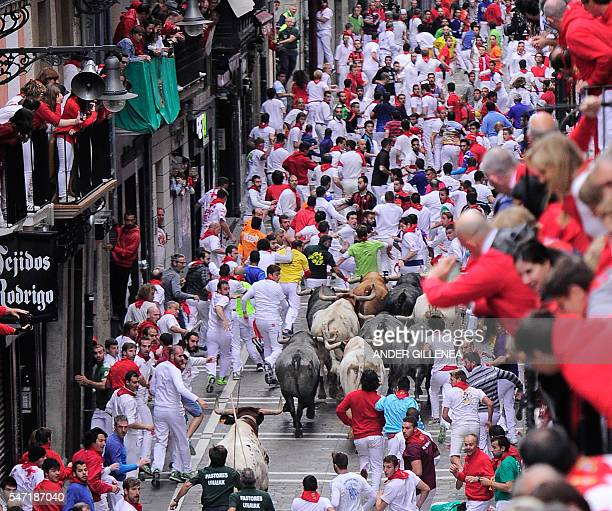 Participants run along side Miura fighting bulls on the last day of the San Fermin bull run on July 14 in Pamplona northern Spain On each day of the...