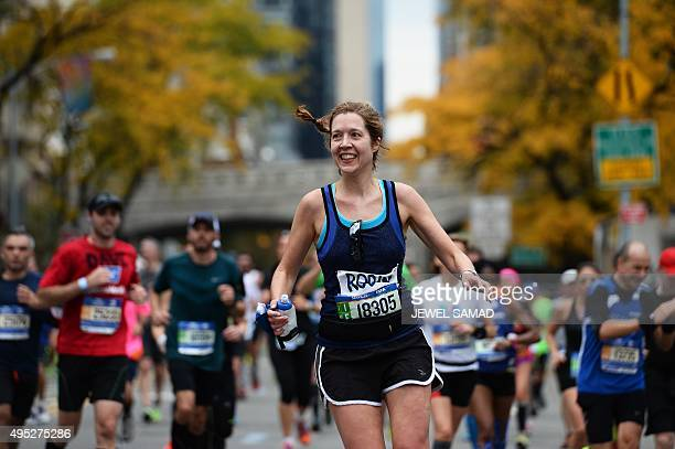 Participants run during the TCS New York City Marathon in New York on November 1 2015 AFP PHOTO/JEWEL SAMAD
