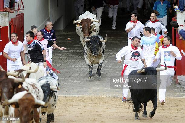 Participants run in front of Torrestrella's bulls during the first bullrun of the San Fermin Festival on July 7 in Pamplona northern Spain The...