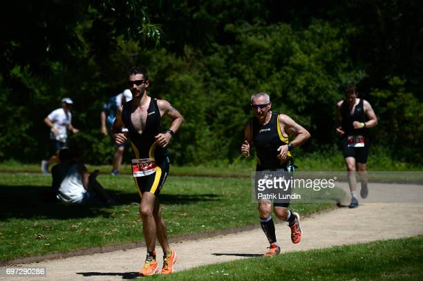 Participants run in the IRONMAN 703 Staffordshire on June 18 2017 in Stafford England