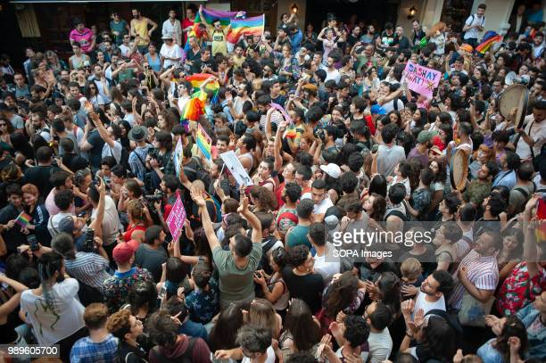 Participants seen at Istanbul Pride parade The LGBT community and their supporters celebrated Istanbul Pride despite an official ban declared by the...