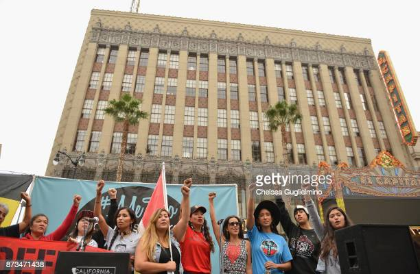 Participants seen at the #MeToo Survivors March Rally on November 12 2017 in Hollywood California
