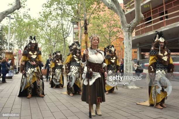 Participants seen during the parade of Moors and Christians during the festivities of Las Fallas in the city of Gava Barcelona In the city of Gavà...