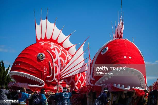 Participants seen moving sea bream figures during the festival The sea bream or tai maturi festival is a traditional festival in Minamichita Aichi...