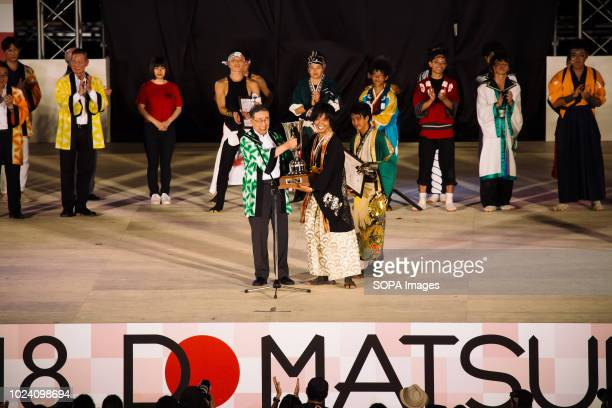 Participants seen performing on the main stage Nippon Domannaka Festival in Nagoya Aichi One of the largest dance festival in Japan The festival had...