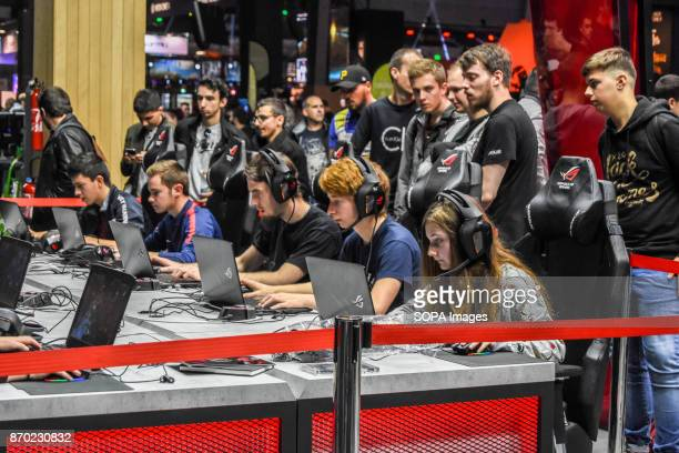 Participants seen playing online game on laptops at the fair The biggest game convention Paris Games Week took place at Paris Expo The event open to...