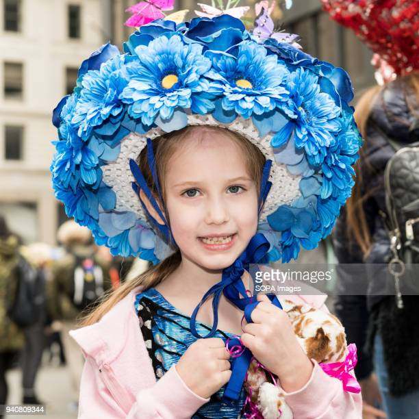 Participants seen wearing colourful bonnet during the parade The Easter Bonnet parade hosted on Fifth Avenue in midtown Manhattan