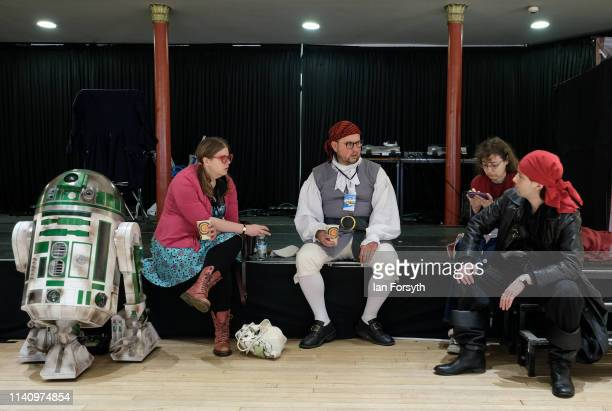 Participants sit on a stage on the second day of the Scarborough Sci-Fi weekend held at the seafront Spa Complex on April 07, 2019 in Scarborough,...