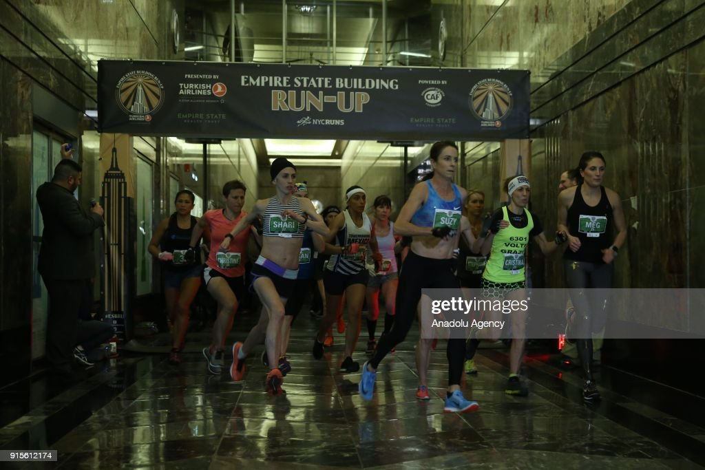 Participants start running during the 41st Annual Empire State Building Run-Up race sponsored by Turkish Airlines, in Midtown Manhattan, New York, United States on February 07, 2018. The annual race has runners climbing 86 floors, 1,576 steps, to the finish line at the Observatory Deck of the Empire State Building in New York.