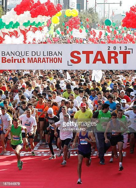 Participants start the 10km run during the 2013 Beirut Marathon on November 10 2013 AFP PHOTO/ANWAR AMRO