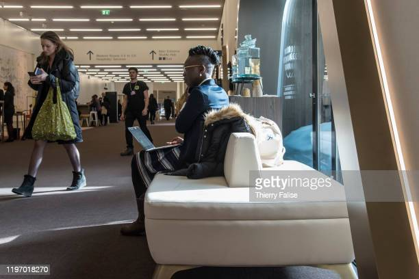 Participants take a break at the 50th World Economic Forum in Davos