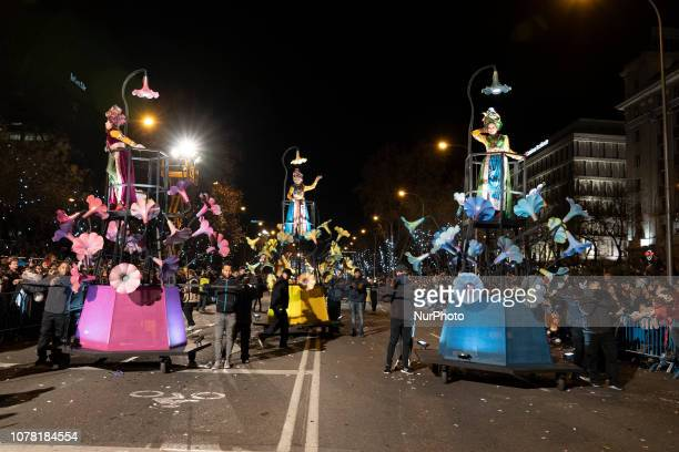 Participants take part during a parade in Madrid, The traditional Three Kings parade is held all over the country 05 January every year before...