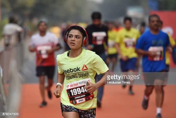 Participants take part during the Airtel Delhi Half Marathon 2017 at JLN Stadium on November 19 2017 in New Delhi India Thousands of people...