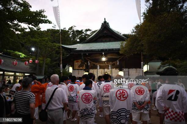Participants take part during the annual Suhoutei Festival at Iminomiya Shrine on August 7 2019 in Chofu Shimonoseki Yamaguchi Prefecture Japan The...