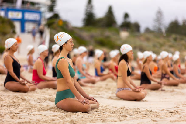AUS: People Gather To Meditate On Perth Beach As Part Of Surrealist Art Installation