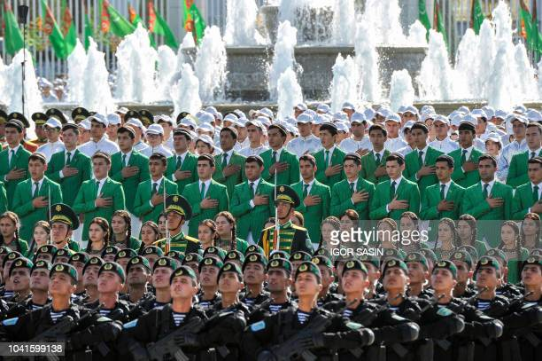 Participants take part in a parade in central Ashgabat on September 27 on the 27th anniversary of Turkmenistan's independence