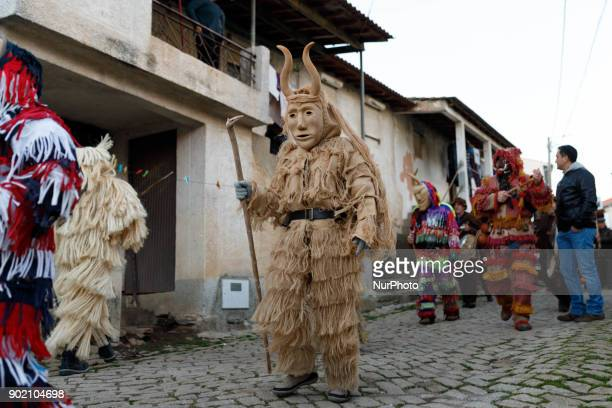 Participants take part in a winter masquerade gathering in Salsas Portugal on Saturday January 6 2018 With colorful costumes and ancient masks...