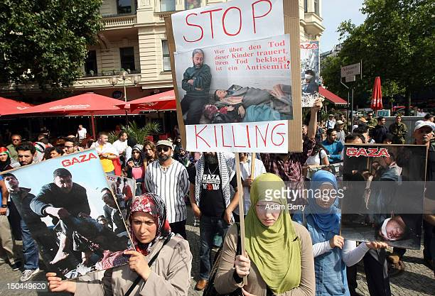 Participants take part in AlQuds Day on August 18 2012 in Berlin Germany AlQuds Day named after the Arabic word for Jerusalem began in Iran in 1979...