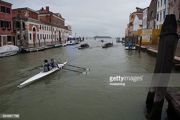 Participants take part in the 39th Vogalonga a noncompetitive paddling/rowing race that follows a 30 kilometre scenic route through the city of...
