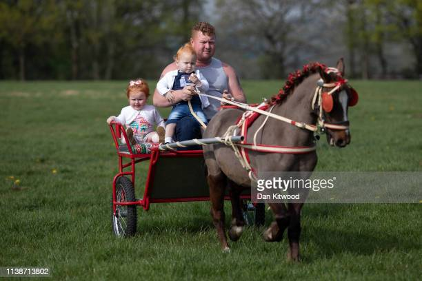 Participants take part in the annual 'London Harness Horse Parade' on Easter Monday at The South of England Event Centre on April 22 2019 in Ardingly...