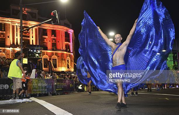 Participants take part in the annual Sydney Gay and Lesbian Mardi Gras Parade in Sydney on March 5 2016 Around 10000 people took part in the 38th Gay...