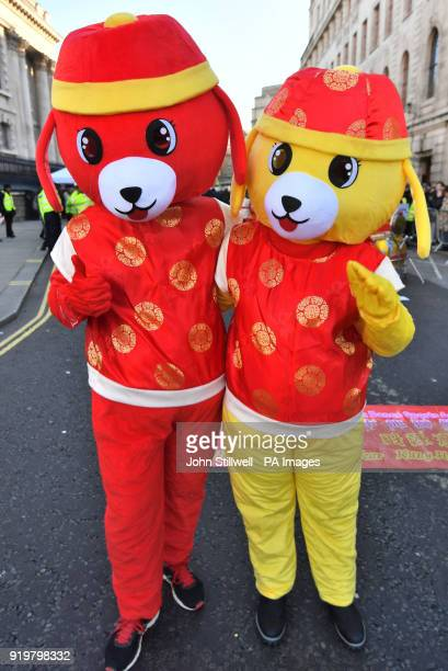 Participants take part in the Chinese New Year parade in London part of the Chinese New Year's celebrations to mark the Year of the Dog in the...