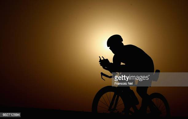 Participants take part in the cycle leg of the of the race during the Doha Triathlon 2018 on March 16 2018 in Doha QatarSet along Doha's spectacular...