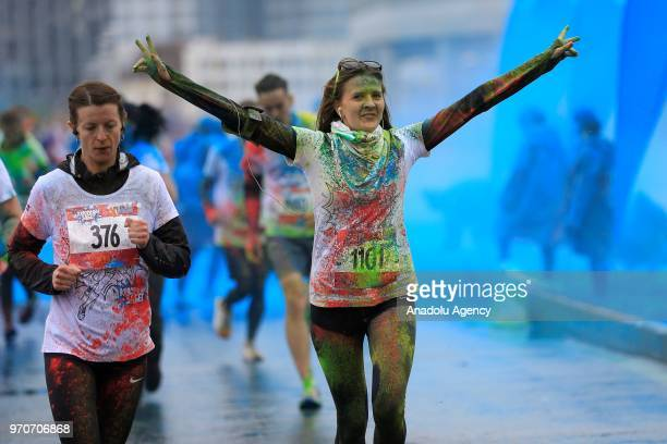Participants take part in the Holi colors run in Moscow Russia on June 10 2018
