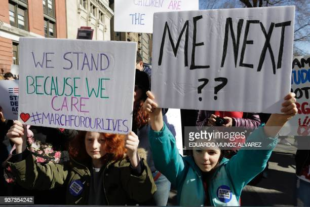 Participants take part in the March for Our Lives Rally near Central Park West in New York on March 24 2018 Galvanized by a massacre at a Florida...