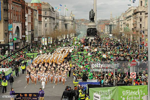 Participants take part in the St Patrick's Day parade on March 17 2014 in Dublin Ireland Over half a million spectators were in attendance of the...