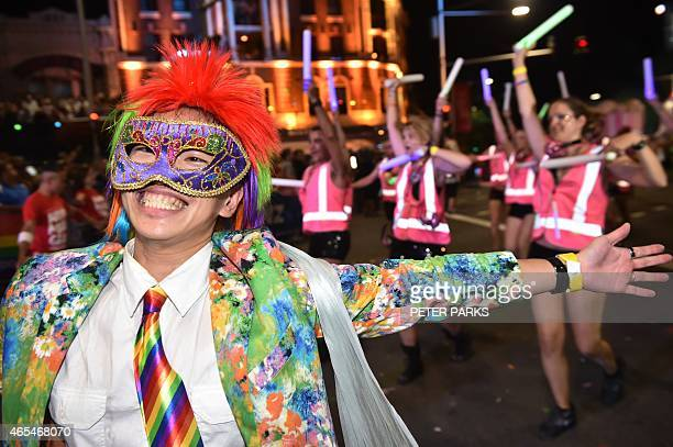 Participants take part in the Sydney Gay and Lesbian Mardi Gras Parade in Sydney on March 7 2015 Around 10000 people took part in the 37th annual Gay...