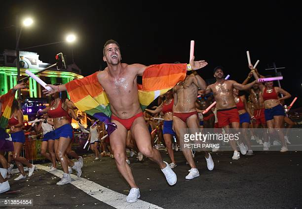 Participants take part in the Sydney gay and lesbian Mardi Gras Parade in Sydney on March 5 2016 From drag queens to footballers thousands of...